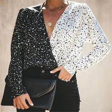 New Spring Fashion Chic Blouses Women Loose Shirts Hit Color Casual V Neck Stripes Print  Blouses Long Sleeve Tops