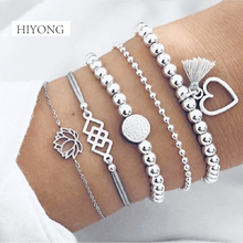HIYONG Style Boho Bangle Elephant Heart Shell Star Bow Map Crystal Bead Bracelet Women Charm Party Wedding Jewelry Accessories