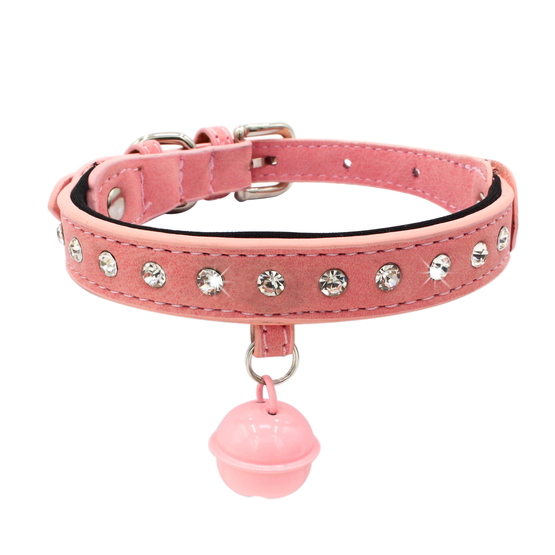 Jin Ling Jie Shiny Man-made Diamond Pet Collar Bell Dog Neck Ring Diving Cloth Lining Dog Chain Double Layer Hide Substance Dog