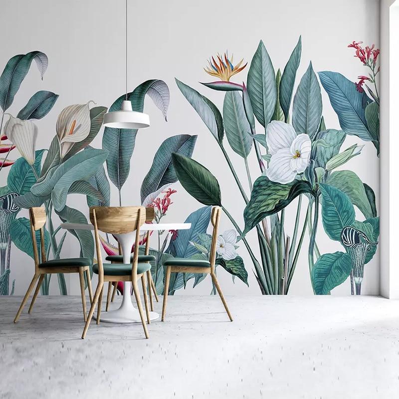 Custom Any Size Mural Wallpaper 3D Plant Birds And Flowers Fresco Living Room Study Interior Decor Wallpaper Papel De Parede 3D