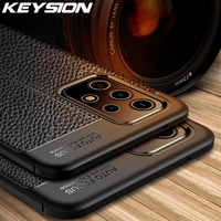 KEYSION-funda a prueba de golpes para móvil, cubierta trasera de cuero con textura para Samsung A52 A72 5G A51 A71 A21S Galaxy S21 Ultra A22 A12 A32