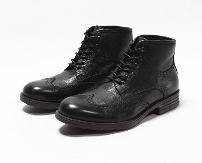 2 Colour Fashion Men Lace-up Bullock Carved Ankle Boots Genuine Leather Round Toe High-top Dress Oxford Party Wedding Shoes