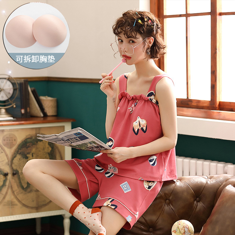 New Cute Printing Summer Sleepwear With Chest Pads Pajamas Women Cotton Homewear Suspender Casual Nightwear Female 2 Pieces Set
