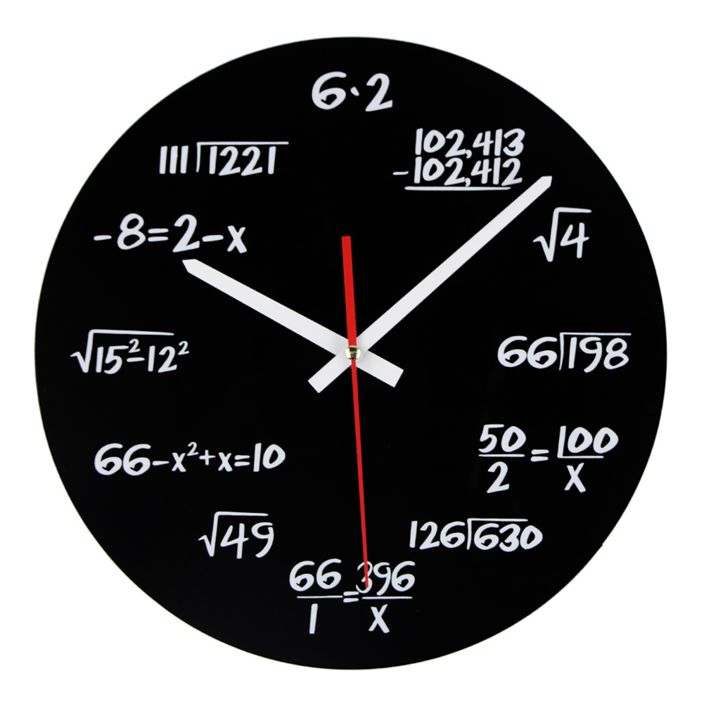 Maths Wall Clock Unique Each Hour Marked By A  Math Function Equation