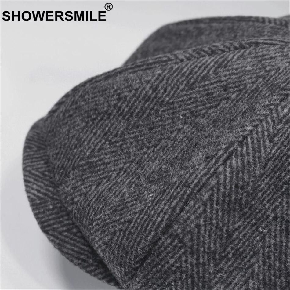 SHOWERSMILE Brand Wool Newsboy Caps Men Grey Herringbone Flat Caps Women Coffee British Gatsby Cap Autumn Winter Woolen Hats 3