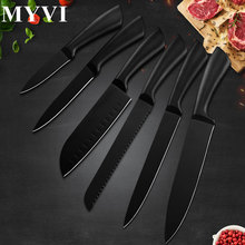Professional Kitchen Knives Set Black Blade Steel Knife Japanese Santoku Chef Knife For Meat Fish Potato Onion Vegetable Cutting цена и фото