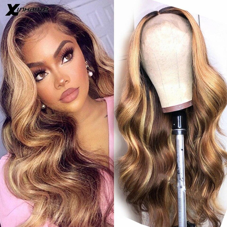 Мёд блонд выделен парики 13x6x1 эффектом деграде (переход от темного к коричневый объемная волна Синтетические волосы на кружеве человеческих...