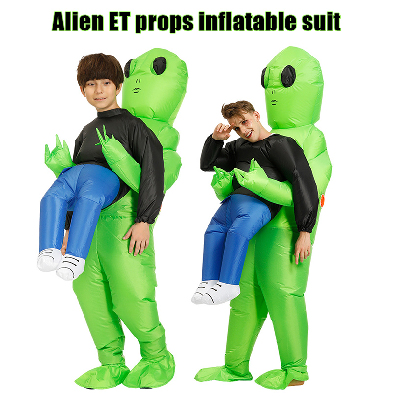Green Alien Carrying Human Costume Inflatable Funny Blow Up Suit Cosplay For Party New Design