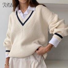 FSDA-suéter holgado con cuello de pico para mujer, jersey largo blanco de retales, suéteres informales tejidos de gran tamaño, otoño e invierno