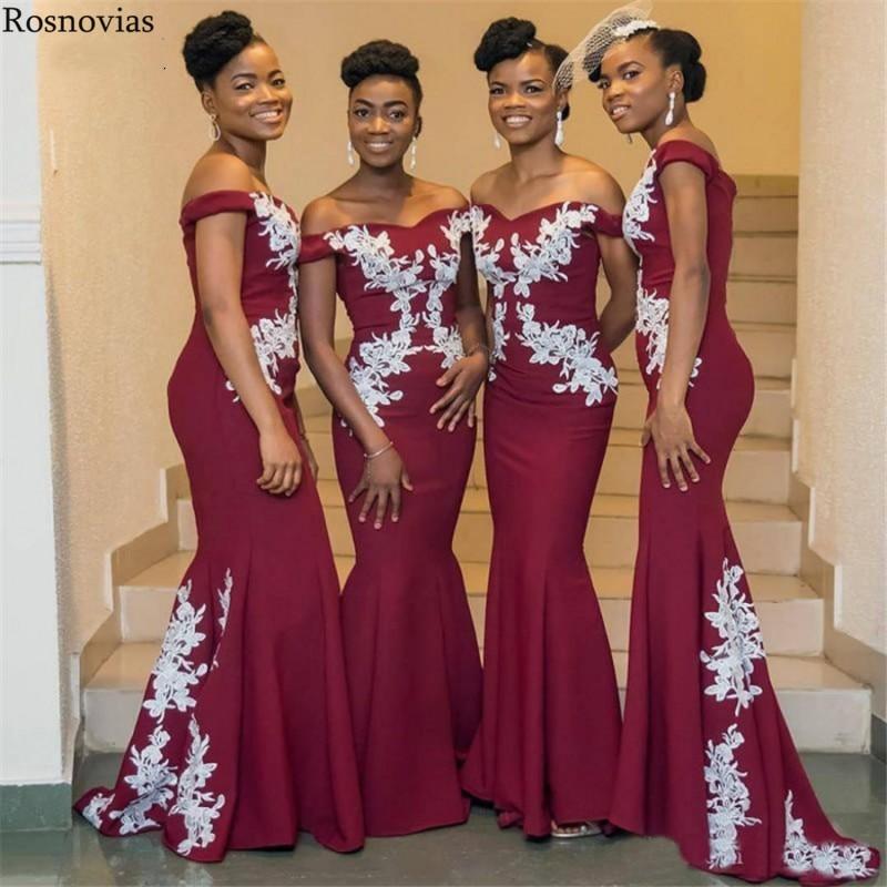 Arabic Mermaid   Bridesmaids     Dresses   2019 Off Shoulder Sweep Train Appliques Maid of Honor Gowns Wedding Guest   Dresses   Plus Size