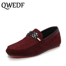 QWEDF Brand Fashion Style Soft Moccasins Men Loafers High Quality Genuine Leather