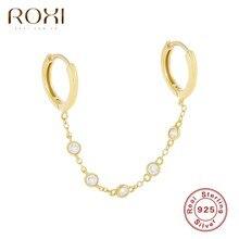 ROXI doppia geometria cristalli perline orecchini a cerchio a catena per donna orecchini a cerchio per orecchini lucidi cartilagine gioielli in argento Sterling 925