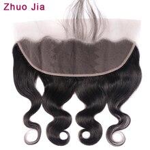 ZhuoJia волос бразильские волнистые волосы Фронтальная застежка с волосами младенца Remy человеческие волосы 13x4 уха до Кружева Фронтальная застежка