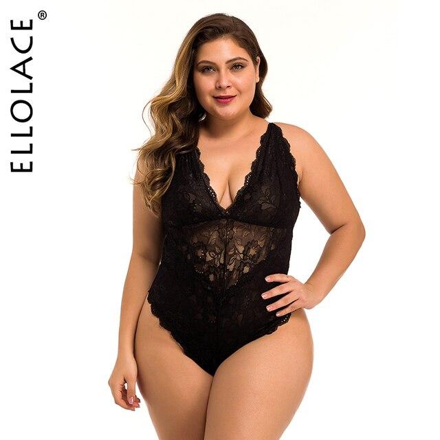 Ellolace Spitze Body Plus Größe für Frauen 4XL Body Unterwäsche Sexy Overalls für Frauen 3