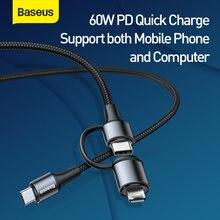 Usb кабель baseus 2 в 1 60 Вт с функцией быстрой зарядки