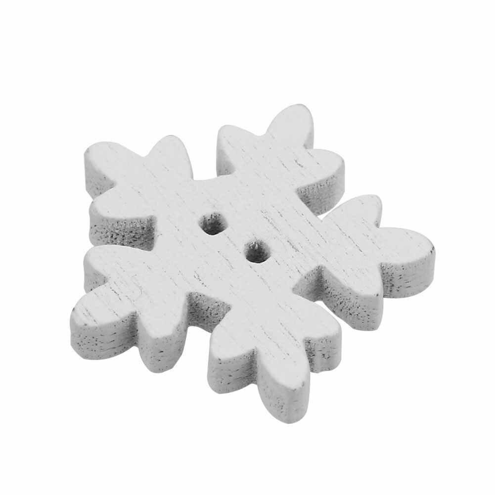 2019 雪の形状ボタン 25 ピース/パック Diy ボタンユニバーサルクリスマス白スノーフレーク木製ボタンクリスマス縫製縫製アクセサリー