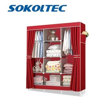 цена на Fast Dispatch SOKOLTEC bedroom wardrobe floor hanger clothing storage cabinet multi purpose non-woven cloth furniture