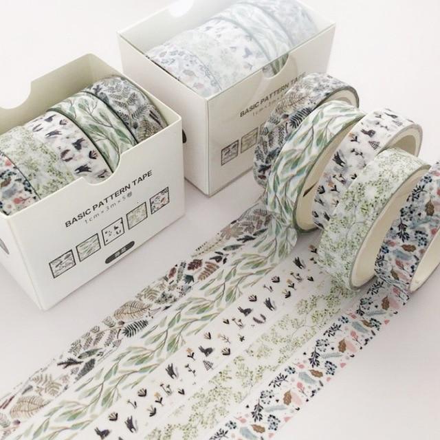 5 Pcs/Set Cute Plant Washi Tape Scrapbooking DIY Adhesive Tape Sticker Label Masking Tapes Washitape