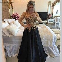 2019 vestidos de la madre de la novia negro de encaje de oro de manga larga Formal de la madrina de noche de fiesta de boda de los invitados vestido de talla grande