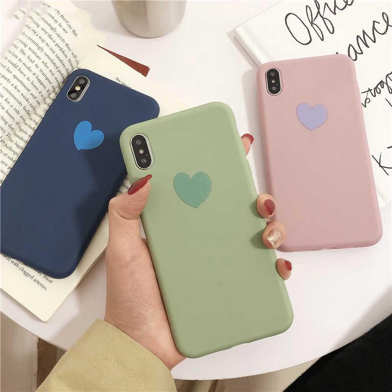 LOVECOM милый карамельный сплошной цвет Любовь Сердце чехол для iPhone XR X XS Max для iPhone 7 8 6S Plus Мягкий ТПУ Защитная Накладка для телефона