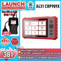 LAUNCH X431 CRP909X OBD2 الماسح الضوئي أدوات السيارات سيارة أداة تشخيص جميع نظام السيارات OBD رمز قارئ أدوات المسح شحن مجاني