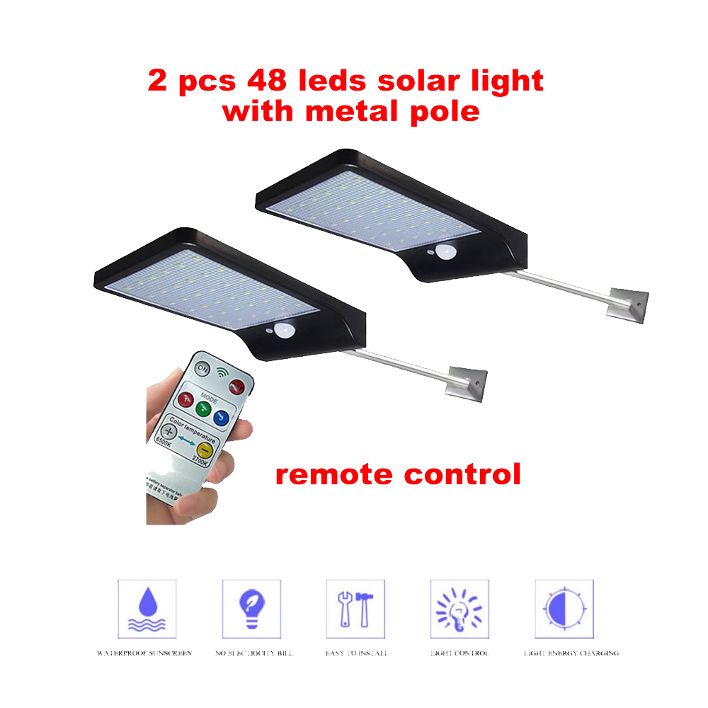2/4pcs Led Garden Solar Lamp Motion Sensor Wall Light 3 Mode 48 LED Separable Solar Power Light Super Bright Security Waterproof