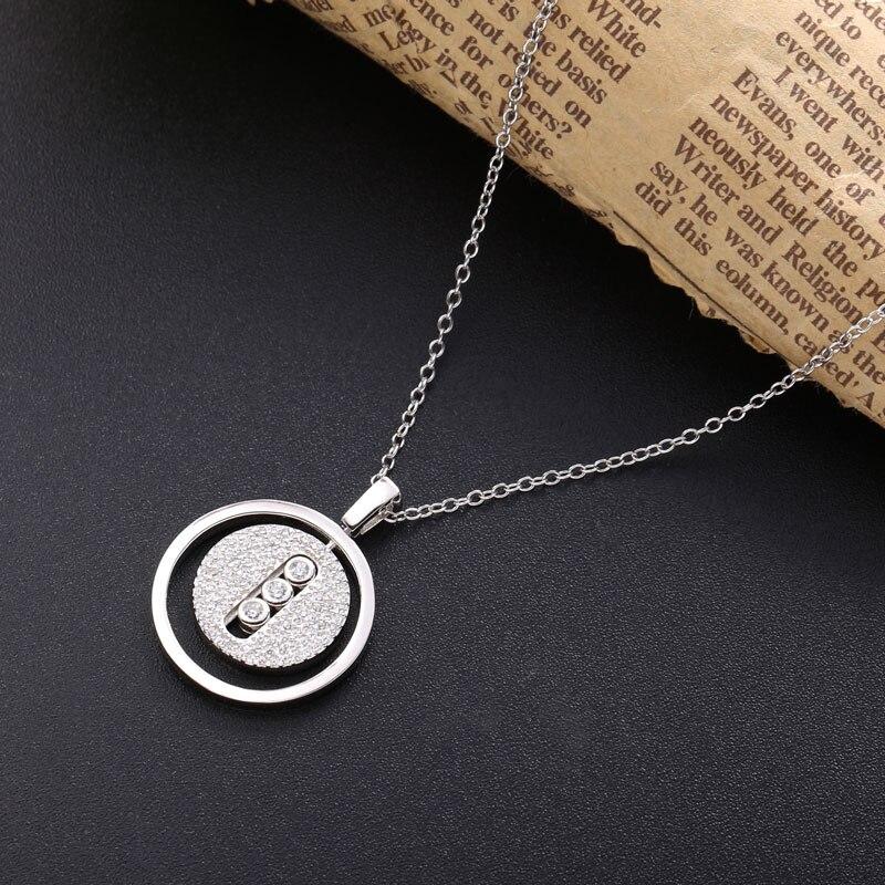Moonmory 925 en argent Sterling colliers pendentif pour les femmes marque populaire CZ Zircon argent cou chaînes bijoux 2020 cadeaux de noël 4