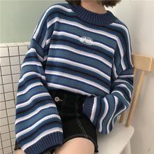Женская одежда Харадзюку свободный студенческий свитер в полоску