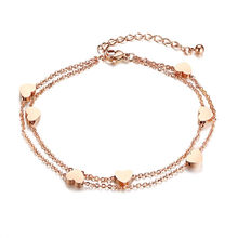Fashion Accessory Elegant Stainless Steel Heart Double Layer Bracelet Anklet Women's Jewelry Sets(China)