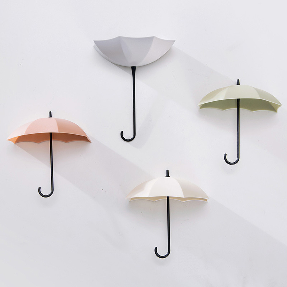 3pcs/set Umbrella Shape Wall Hook Key Hair Pin Holder Organizer Hanger Rack Kitchen Hanging Storage Home Decoration Accessories