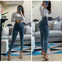 Pantalones vaqueros de cintura alta para mujer, pantalones pitillo elásticos negros y azules sexys para mujer, pantalón de talla grande con cremallera, pantalones de lavado tejano para chica