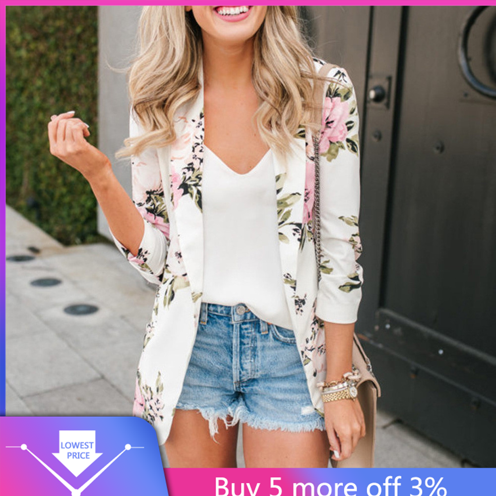 Autumn Notched Floral Female Blazer Jacket White Print Blazers Jackets For Women 2020 Vintage Casual Elegant Cardigan Ladies#3