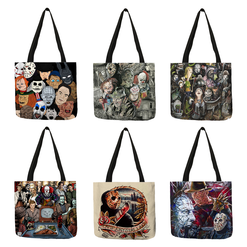 Halloween Of Clownof Dress Up Canvas Tote Bag,Fashion Large Capacity Handbag for Women Travel