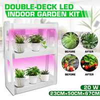 US/EU 20W LED Full Spectrum High Efficiency Grow Lighting System Flowerpot Plant Shelf With Plant Lights Indoor Flower Rack