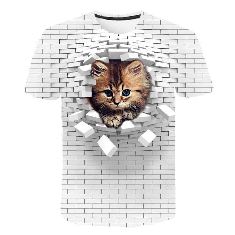 男性 3D猫壁プリントカジュアル原宿の女性のtシャツ夏半袖oのネック品質tシャツボーイズgrils服トップ女性tシャツ