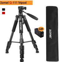 ZOMEI Q111 Professional Portable Travel Aluminum Alloy Camera Tripod Pan Head for Canon Nikon SLR Gift Strap & Phone Holder