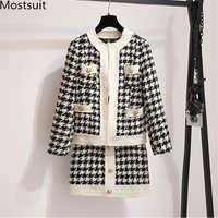 2019 Autumn Houndstooth Knitted Vintage Two Piece Sets Women Long Sleeve Tops And Skirt Suits Elegant Ladies Korean 2 Piece Sets
