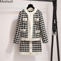 2019 Autumn Houndstooth Vintage Two Piece Sets Women Long Sleeve Tops And Skirt Suits Elegant Ladies Fashion Korean 2 Piece Sets