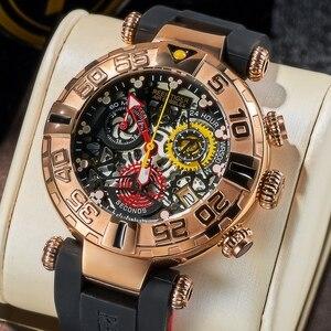 Image 4 - Reef Tiger/RT relojes deportivos para hombre, cronógrafo rosa, mecanismo a la vista dorado, resistente al agua, masculino, RGA3059 S
