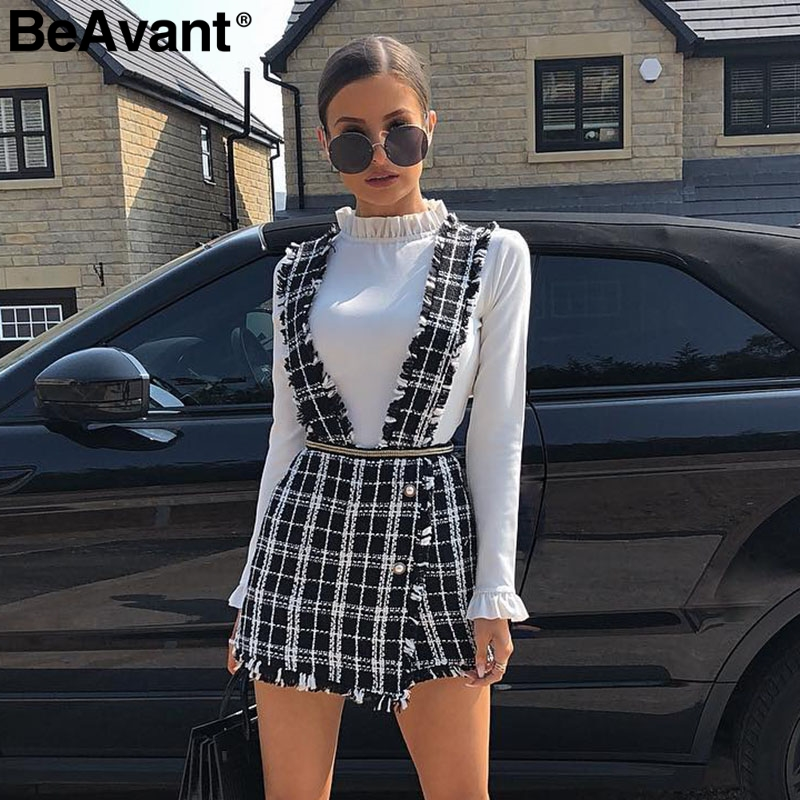 BeAvant A-line Tweed Plaid Women Short Vest Romper Autumn Winter Casual Ladies Party Skirt Spaghetti Strap Female Mini Jumpsuits