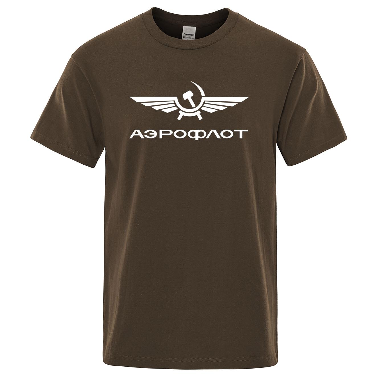 Camisa de manga curta de algodão de verão dos homens da moda do t-shirts dos homens da moda do pescoço do aeroflot da aviação russe pilote aeroespacial aviateur