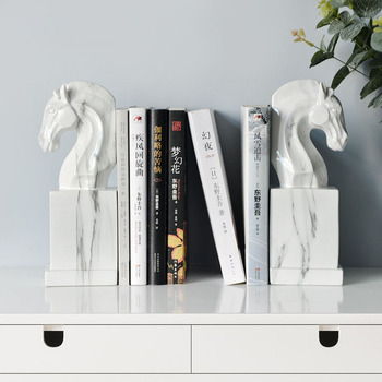 Strongwell Nordic Horse Statue Book Stand Retro Bookends Resin Craft Office Study Desktop Art Ornaments Home Decoration Gift