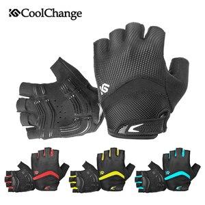 Image 4 - CoolChange – gants de cyclisme pour hommes et femmes, demi doigt, élastique, respirant, coussinet de GEL, gants de vélo, vtt, été