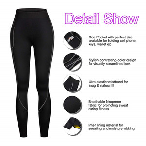 Image 5 - 2019 Women Sauna Weight Loss Slimming Pants Workout Neoprene Pants Side Pocket Heat Thermo Sweat Legging casual trousers clothes