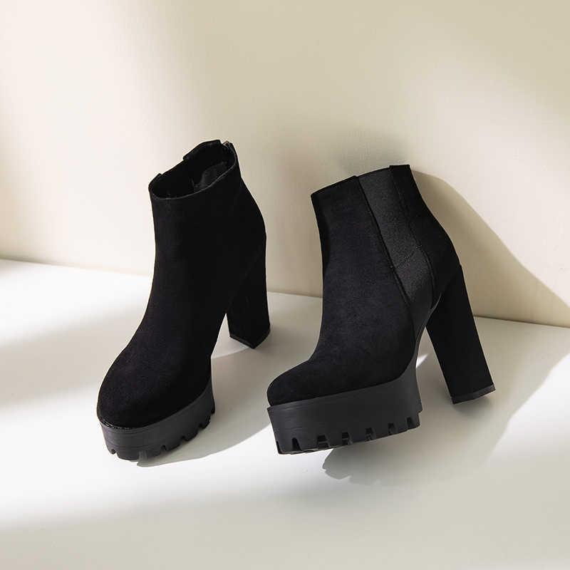 2019 ส้นสูงรองเท้าบูทฤดูหนาวรองเท้าผู้หญิง Punk รองเท้ารองเท้าส้นสูงสตรีข้อเท้ารองเท้าผู้หญิงกำมะหยี่ฤดูหนาวรองเท้า