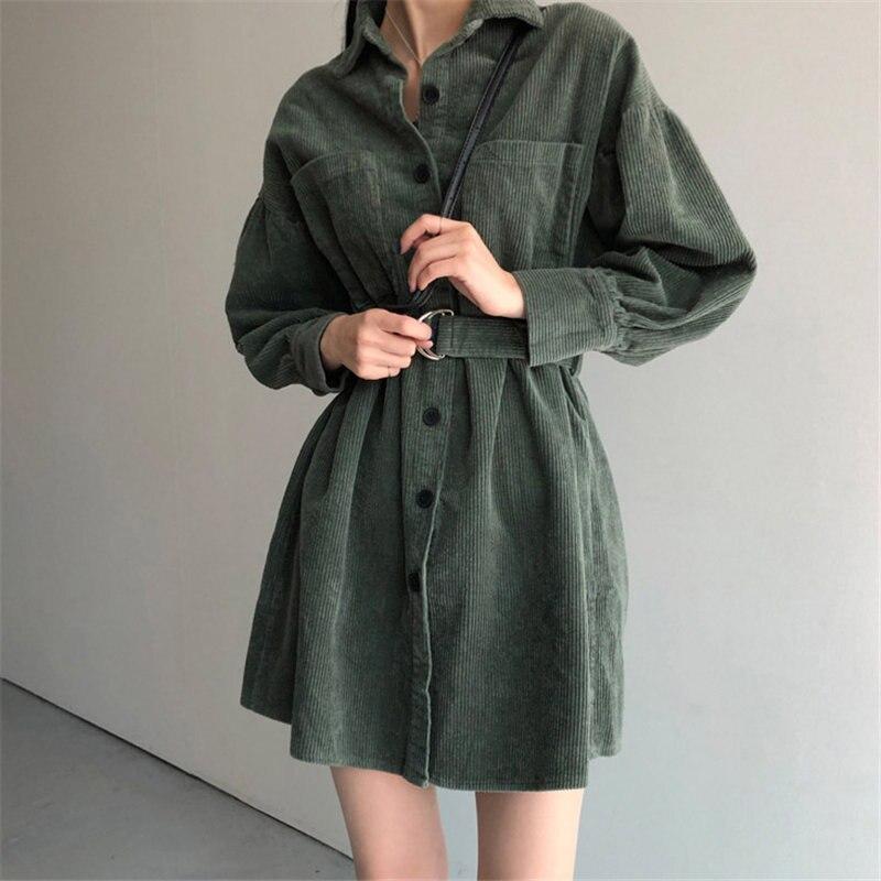 HziriP Retro Green Solid Corduroy Thicken 2020 Korean Plus Size Sashes Stylish Chic Office Lady Streetwear High Waist Dresses