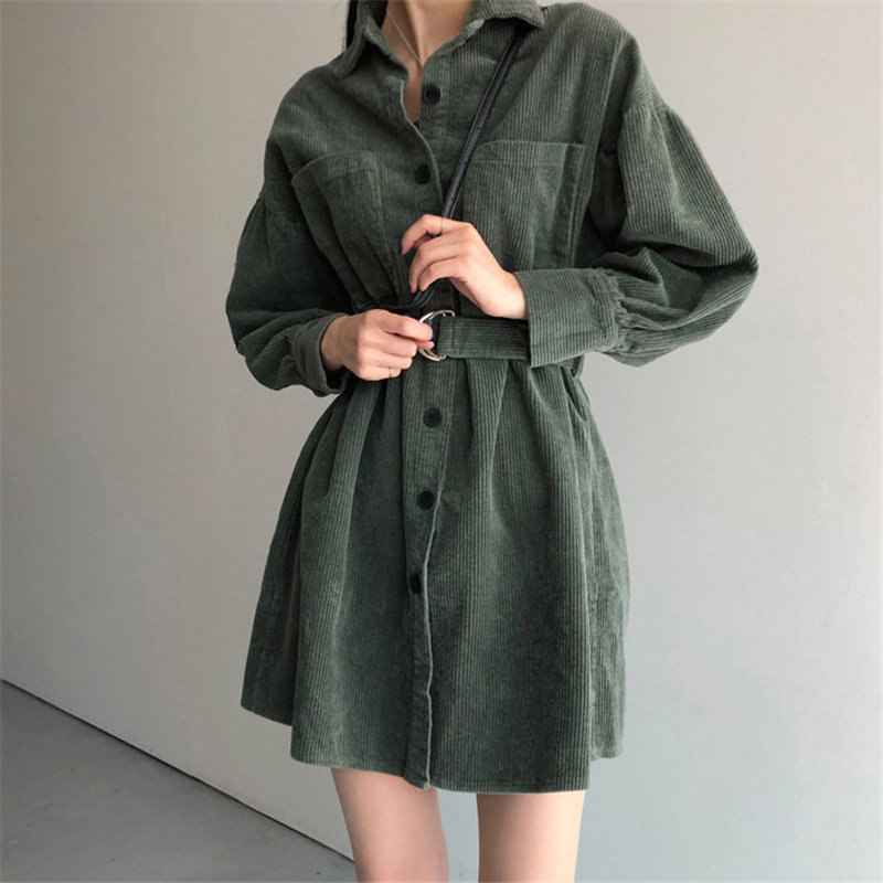 HziriP Retro Green Solid Corduroy Thicken 2020 Korean Plus Size Sashes Stylish Chic Office Lady Streetwear High Waist Dresses