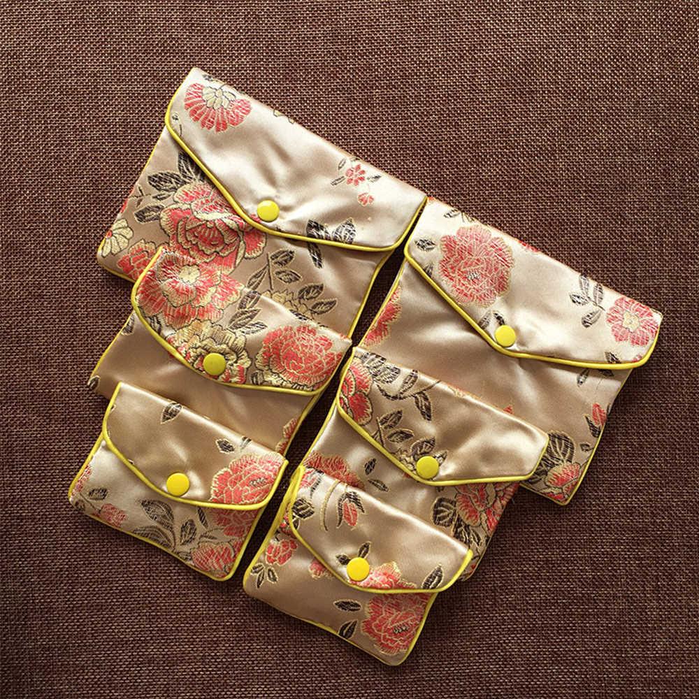 Gran oferta brocado chino de seda bordado hecho a mano cremallera acolchada pequeña joyería regalo almacenamiento bolsa Snap Case Satin monedero