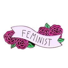 Red Rose Floral Feminist enamel Pin Feminism liberalism brooch