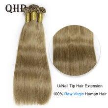 QHP Capsules U/ongles pointe Extensions de cheveux 100% vierge crue bâton de cheveux humains pré-collé cheveux raides 50pc 0.8 g/pc